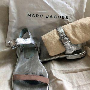 Marc Jacobs Silver Leather & Nude Grosgain Sandal